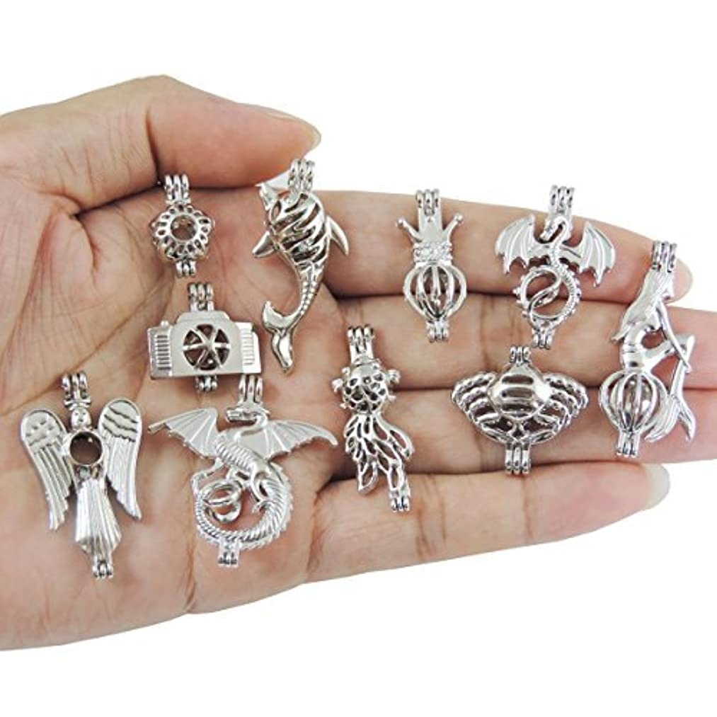 10pcs Mix Jewelry Making Supplies Alloy Bead Cage Pendant - Add Your Own Pearls, Stones, Rock to Cage,Add Perfume and Essential Oils to Create a Scent Diffusing Pendant Holiday Souvenir Gift Charms