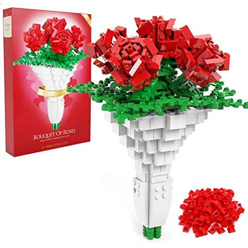 Msoah Rose Flower Building Blocks - Juego De Construcción De Bloques De Rosas (474 Piezas)
