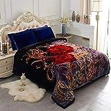 JML Heavy Korean Style Mink Fleece Blanket – 10lb 2 Ply Soft Thick Plush Bed Blanket for Autumn Winter (Rose/Black, King)