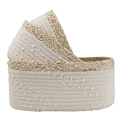 LA JOLIE MUSE Rope Woven Storage Baskets Set of 3 - Small White Rope Baskets for Shelves, Decorative Nursery Baskets Organizer Bins for Baby Toys, Nursery Decor Gift