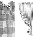Cortina de Cuadros Vichy Gris y Blanca de poliéster de 100x165 cm - LOLAhome