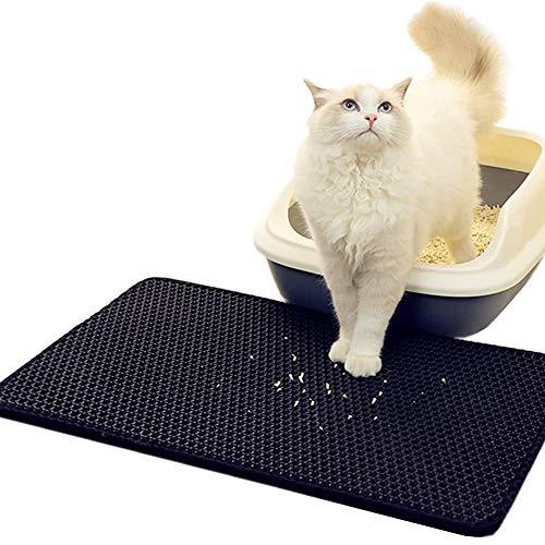 HLDUYIN Katzenstreumatte Double Layer Pad Flexible Falle Für Box Pan-Black Und Grey Dog Shape Bags Katzenkissen 30X30CM Faltbare Wurfmatte Schwarz (Zwei Stück)