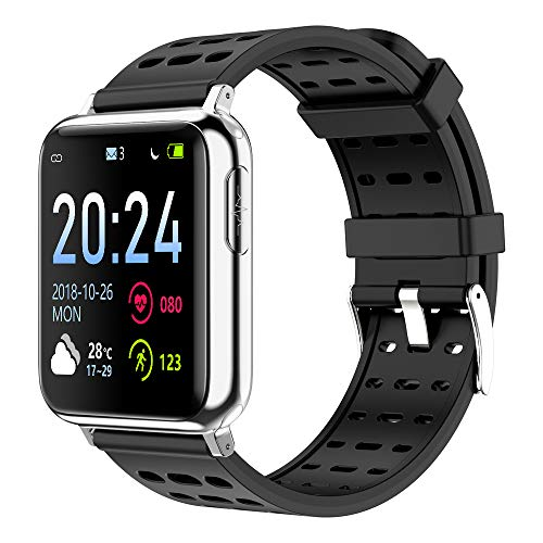WINAWORLD V5/Black Health SmartWatch ECG+PPG+SpO2 Heart rate Blood pressure Blood oxygen electrocardiogram 24 hour monitoring Sport tracker Calorie Pedometer Detection IP67 Waterproof weather forecast