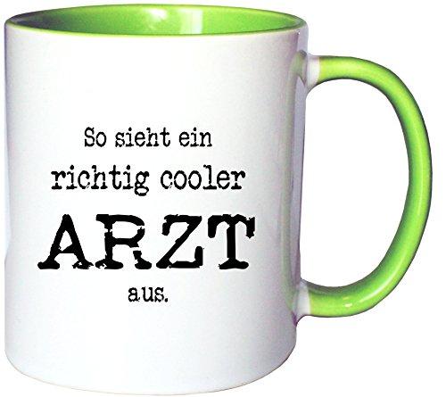 Mister Merchandise Kaffeetasse Becher So sieht ein richtig Cooler Arzt aus. Doktor, Farbe: Weiß-Grün