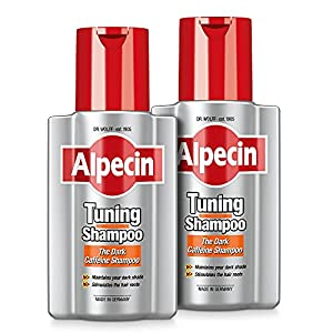 Alpecin Tuning Shampoo 2x 200ml | Preserves Natural Hair Colour and Supports Natural Hair Growth | Dark Caffeine Shampoo to Cover Early Grey Hairs | Hair Care for Men Made in Germany