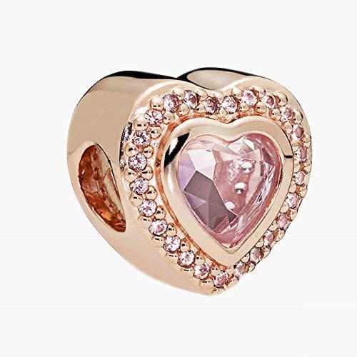 PANDOCCI 2018 Herbst Rose Rosa Kristall Funkelnde Liebes Herz Perle 925 Silber DIY Passt für Original Pandora Armbänder Charme Modeschmuck
