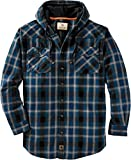 Legendary Whitetails Men's Standard Backwoods Hooded Flannel Shirt, Deep River Plaid, X-Large