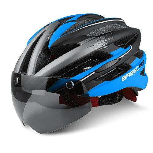 Ciclo cascos, leadfas bicicleta Ciclismo casco con visera gafas magnética desmontable Escudo ajustable Unisex Hombres Mujeres carretera casco de ciclismo de protección de seguridad para bicicleta de montaña, azul y negro