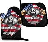 N\A Wolf Lover Independence Day Flag USA Apart Kitchen Oven Mitt Pot Holder Set, Resistencia al Calor Antideslizante Soportes para Guantes para Barbacoa Cocinar Hornear Parrilla Microondas