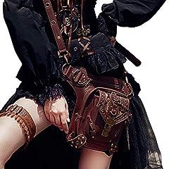 FiveloveTwo® Men Women Multi-purpose Tactical Drop Leg Arm Bag Pack Hip Belt Waist Messenger Shoulder Fanny Packs Steampunk Bag Wallet Purse Pouch Bag Red Brown #2
