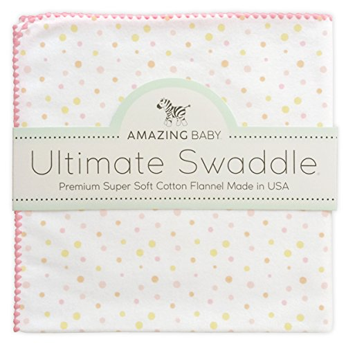 Amazing Baby Ultimate Winter Swaddle, X-Large Receiving Blanket, Made in USA, Premium Cotton Flannel, Playful Dots, Multi Pink (Moms Choice Award Winner)