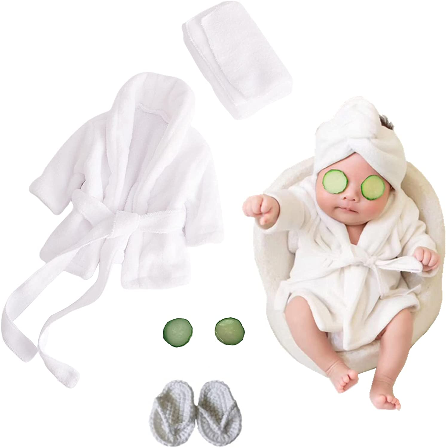5PCS Newborn Photography Outfits, Baby Bathrobes Bath Towel Outfit with Slippers Photo Props for Girls and Boys