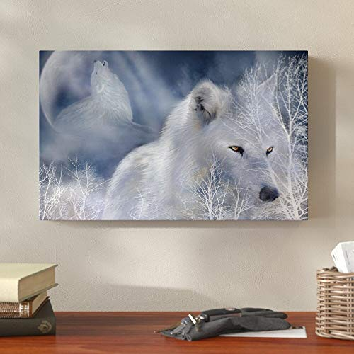 White wolf canvas wall artwall posters andhome decoration for living room60x90cmFrameless painting