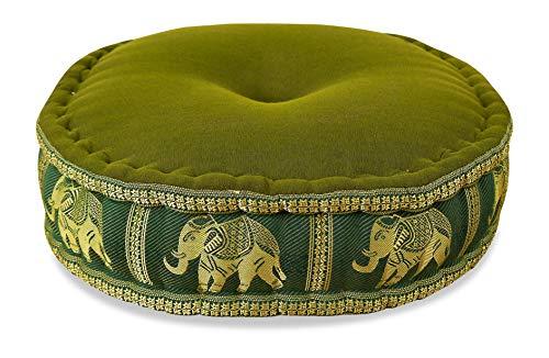 livasia Zafukissen Seide mit Kapokfüllung, Meditationskissen, Yogakissen, rundes Sitzkissen/Bodenkissen (grün/Elefanten)