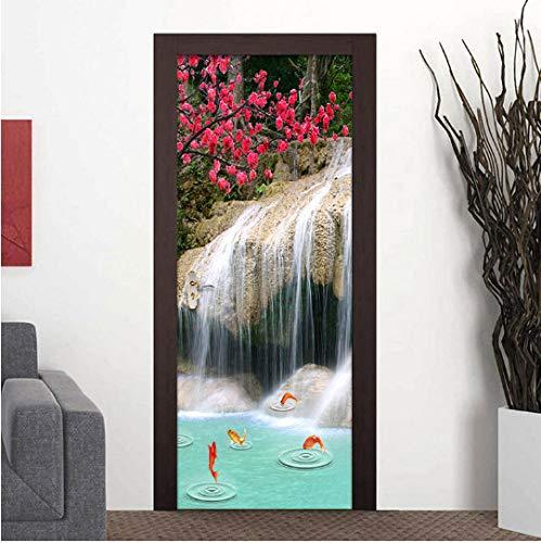 MNJKH Door stickers door decals, Door Sticker Self Adhesive Waterfall Carp Landscape Picture Decal Home Decor Paper For Living Room Waterproof Print Artwork
