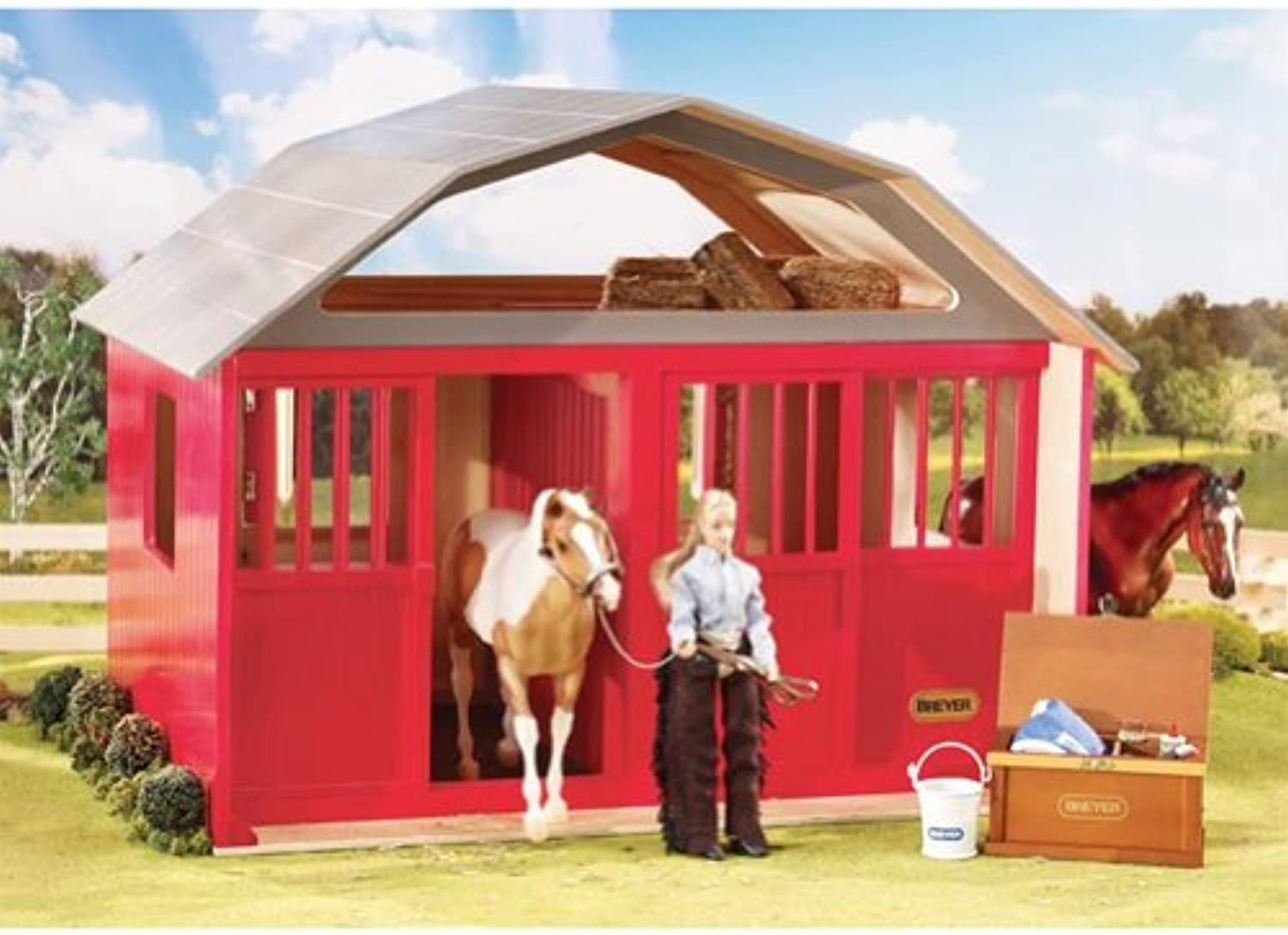 Breyer Traditional TwoStall Horse Barn Toy Model (1  9 Scale), Red