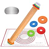 Cake Decorating Supplies, Wood Adjustable Rolling Pin with Silicone Baking Mat and Stainless Steel Cake Scraper, 4 Removable Thickness Rings for Baking Dough, Pizza, Pie, Pastries, Pasta and Cookies