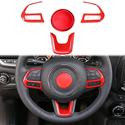 4 piezas de embellecedor de panel de rueda de dirección, marco, tablero de salpicadero, embellecedor de ABS, decoración para Jeep Renegade 2015-2018 y Jeep Compass 2017-2020, rojo ( Color : Red )