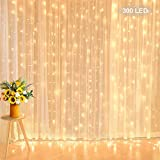 Curtain String Lights 10 ft x 10 ft 300 Led Backdrop Lights Extendable Low Voltage Twinkle Fairy Lights for Wedding Party Home Wall Bedroom Indoor Outdoor Decorations, Warm White