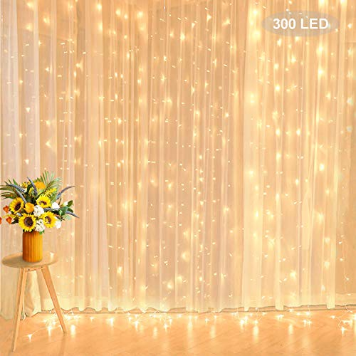 Curtain String Lights, 10 ft x 10 ft 300 Led Icicle Lights Extendable Low Voltage Backdrop Lights for Wedding Party Home Wall Bedroom Valentine 2021 New Year Indoor Outdoor Decorations, Warm White