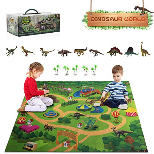 SUNNOW Dinosaur Toy Figure - Dinosaur Playset with Activity Play Mat & Trees Educational Learning Toy Realistic Dino World Including T-Rex Triceratops Velociraptor, Dinosaur Gifts for Kids