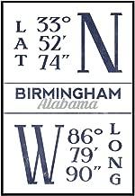 Birmingham, Alabama - Latitude and Longitude (Blue) (24x36 Framed Gallery Wrapped Stretched Canvas)