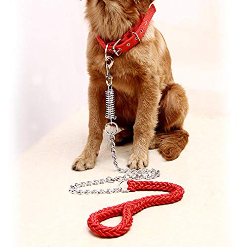Pecute Hunde Hundeleine Hundeseil Leine Hundekette Biss- Und Explosionsgeschütztes Alaska-Halsband Mit Golden Retriever Für Mittlere Und Große Hunde-Seil + Kragen (Rot)_L-Modell (45-70 Kg)