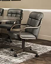 Caster Chair Company Gale Swivel Tilt Caster Arm Chair in Charcoal Bonded Leather