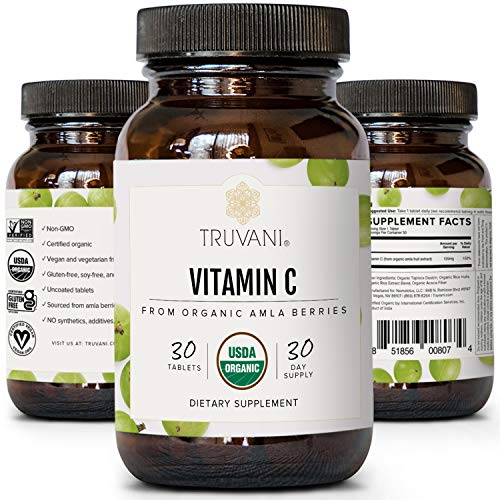 TRUVANI Vitamin C | USDA Organic | High Absorption, Antioxidant Supplement, Higher Bioavailability Immune System Support | Made with Real Food | 30 Servings