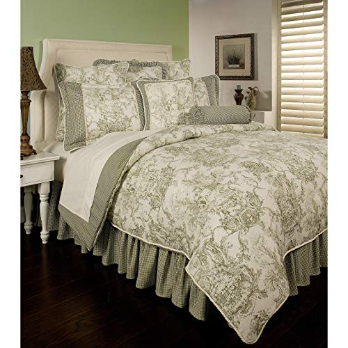 Great Price! Sherry Kline PCHF Country Toile Sage 6-Piece Comforter Set Queen