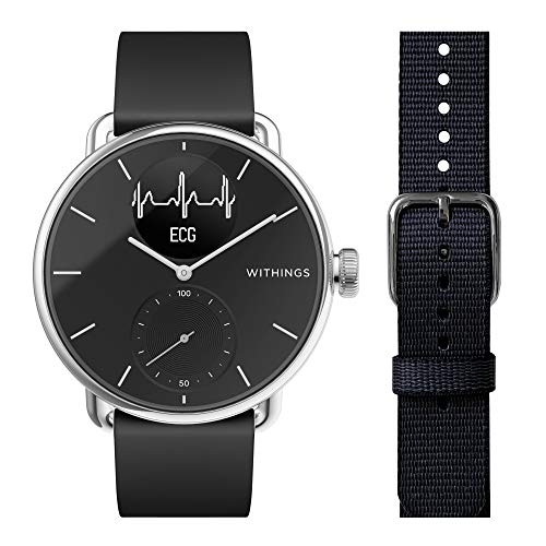 Withings ScanWatch - Reloj Inteligente híbrido con ECG, tensiómetro y oxímetro, 38 mm, Color Negro + Pet Wristband para Scanwatch, 18 mm para Unisex Adulto, Negro