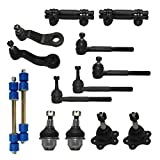 Detroit Axle - 14pc Front Suspension Kit Inner Outer Tie Rods + Idler Pitman Arm + Lower Ball Joints[45.79mm Stamped Arm] w/independent Sus. 4x4 Models