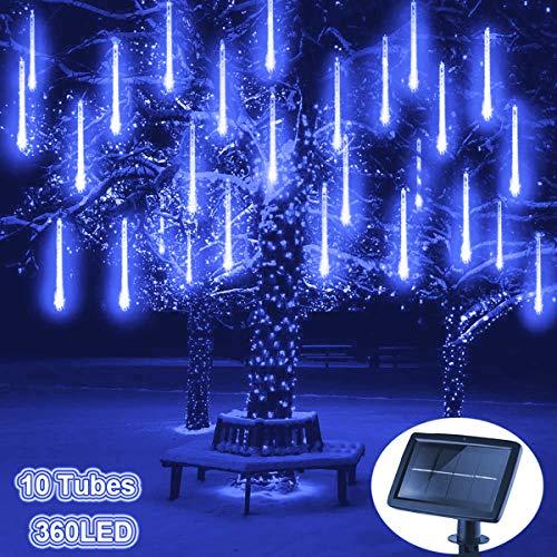 Blau kaskadierende Lichter f/ür Feiertags-Party-Hochzeits-Weihnachtsbaum-Patio-Dekoration LED Meteor Regen Lichter Au/ßen lichterkett,DINOWIN Solar wasserdichte Lichterketten 30cm 10 Tube 360LEDs