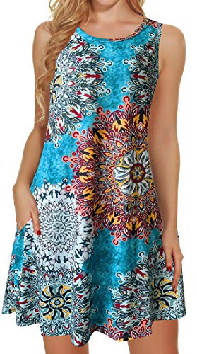 Tshirt Dresses for Women Summer Beach Boho Sleeveless Floral Sundress Pockets Swing Casual Loose Cover Up