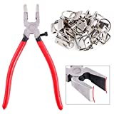 Swpeet 32 Sets 1' 25mm Sliver Fob Hardware with 1Pcs Key Fob Pliers, Glass Running Pliers Tools with Flat Jaws, Studio Running Pliers Attach Rubber Tips Perfect for Key Fob Hardware Install