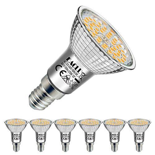 EACLL E14 LED 2700K Warmweiss 6W Leuchtmittel 595 Lumen Birnen kann Ersetzen 75W Halogen Glühbirnen. AC 230V Kein Strobe Energiesparlampe, Abstrahlwinkel 120 ° Strahler, R50 Reflektor Lampen, 6 Pack