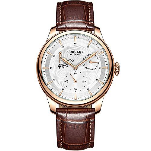 Mechanische Herren-Armbanduhr mit Lederband, Edelstahl, Gangreserve Automatik-Armbanduhr