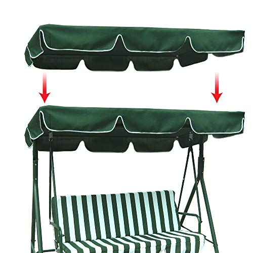 Boshen Outdoor Swing Replacement Canopy Fit 74' x 45' Frame Waterproof UV Blocking Swing Top Cover, 300D 160/gsm Polyester Porch Patio Swing Protection Sunshade Cover with Reinforced Corners-Green