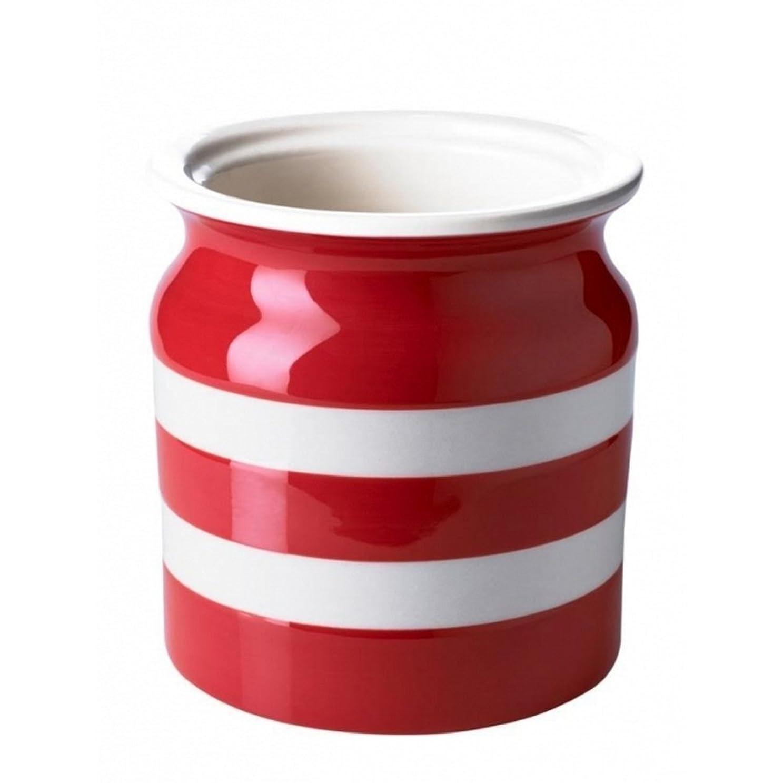 プリーツ購入変成器CornishwareレッドとホワイトストライプStoneware Utensil Jar