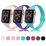 DYKEISS Sport Slim Silicone Band Compatible with Apple Watch 38mm 42mm 40mm 44mm, Thin Soft Narrow Replacement Strap Wristband Accessory for iWatch Series 1/2/3/4 (3p-Pink/Purple/Teal, 42mm/44mm)