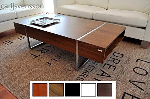 Carl Svensson Design Couchtisch Tisch Wohnzimmertisch N-111 Ablagefächer (Nussbaum-Walnuss)