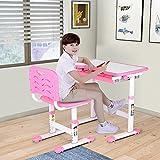 Höhenverstellbarer Kinderschreibtisch, Kinderschreibtisch Schreibtisch mit Stuhl Schublade und Leseständer, Höhe des Stuhls lässt Sich verstellen, Tisch- und Stuhlset