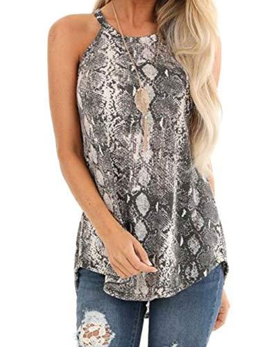 Famulily - Camiseta sin Mangas para Mujer con Estampado de Piel de Serpiente, sin Mangas - - X-Large