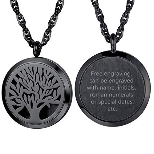 Personalized Customize Tree of Life Black Necklace Perfume Locket Essential Oil Diffuser Hollow Pendants Men Women Aromatherapy Jewelry Custom Engrave Text Valentine Gift
