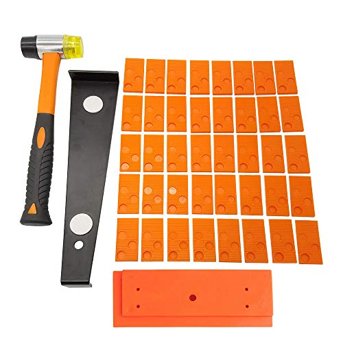 Wood Flooring Installation Kit 43 Pcs Laminate Vinyl Plank Flooring Assembly Tool with Spacers, Tapping Block,Heavy Duty Pull Bar,High-Strength Fiberglass Handle Mallet