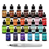 Tim Holtz Alcohol Ink Mega Set - 24 Unique Ranger Alcohol Inks Made in USA - Bundled with Moshify Blending Pen - Perfect For Use With Yupo Paper, Epoxy Resin And Tumblers - Tim Holtz Artist Set
