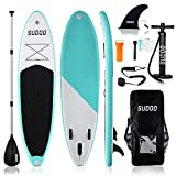 SUDOO 10ft Inflatable Stand Up Paddle Board SUP Board Inflatable SUP Surf Board with Non-Slip Deck w/ Accessories Backpack,Leash,3 Fins,Paddle,Pump,Repair Kit for Adult Beginner Surfing Fishing Yoga
