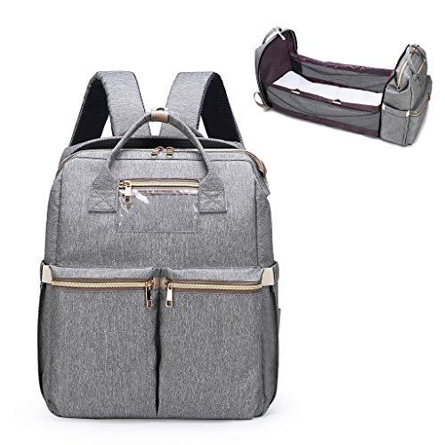 Baby-Wickeltasche, tragbar, faltbar, für Kinderbett, Wickelrucksack mit Riemen, grau (Grau) - guangruiorrtysjb3TT904362-GY