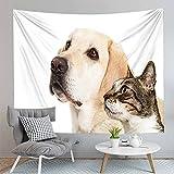 PPOU Animal Perro Gato patrón impresión Arte de la Pared Tapiz decoración de la Pared del hogar Colcha Manta Tapiz Tela de Fondo A5 73x95cm