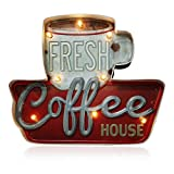 ACECAR Coffee Wall Decorations,Metal Vintage Handmade Marquee Embossed Tin Decor,Industrial Style Wall Hanging Sign,for Apartment,Home,Bar or Cafe Wall Decoration–Battery Operated (Coffee)